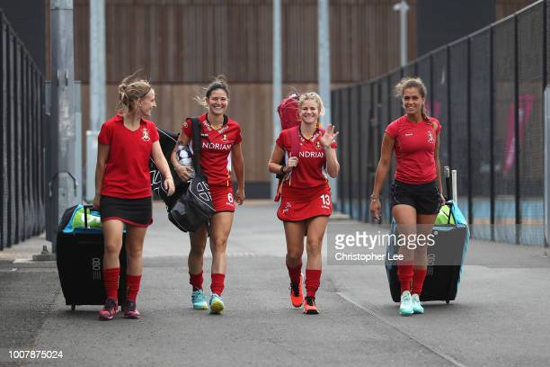 Elodie Picard of Belgium Anouk Raes of Belgium Alix Gerniers of Belgium and Aisling D'Hooghe of Belgium walk out to warm up during the Crossover game...
