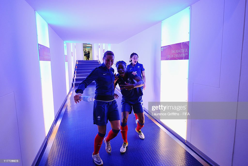 Elodie Thomis (c) of France celebrates victory in the tunnel after the FIFA Women's World Cup 2011 Group A match between Canada and France at the Fifa Womens World Cup Stadium on June 30, 2011 in Bochum, Germany.