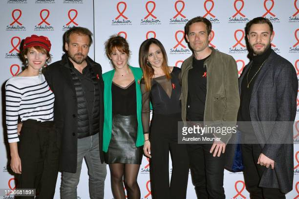 Elodie Varlet Stephane Henon Lea Francois Fabienne Carat Guillaume Delorme and Marwan Berreni attend the Sidaction 2019 photocall at Salle Wagram on...