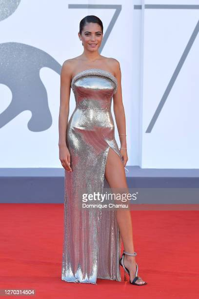"""Elodie walks the red carpet ahead of the Opening Ceremony and the """"Lacci"""" red carpet during the 77th Venice Film Festival at on September 02, 2020 in..."""