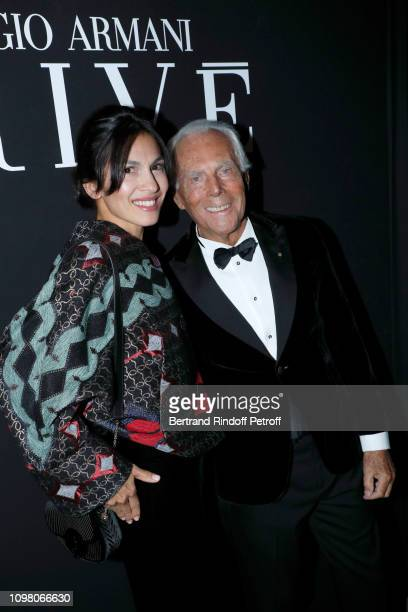 Elodie Yung and Giorgio Armani attend the Giorgio Armani Prive Haute Couture Spring Summer 2019 show as part of Paris Fashion Week on January 22,...