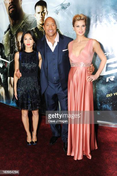Elodie Yung Dwayne Johnson and Adrianne Palicki attend the UK premiere of 'GI Joe Retaliation' at The Empire Leicester Square on March 18 2013 in...
