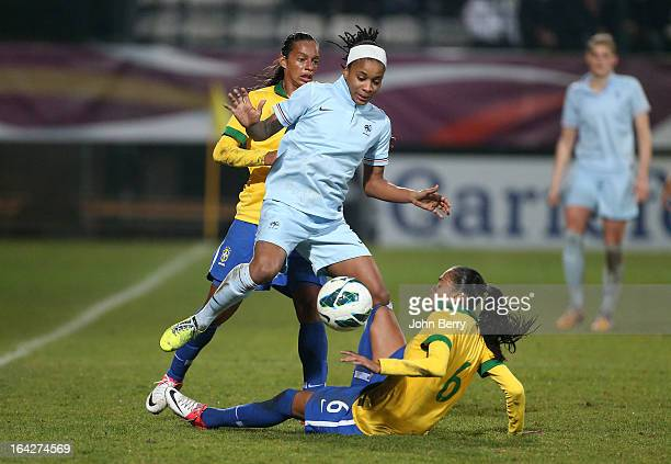 ElodieThomis of France and Andressa Alves Da Silva of Brazil in action during the women international friendly match between France and Brazil at the...