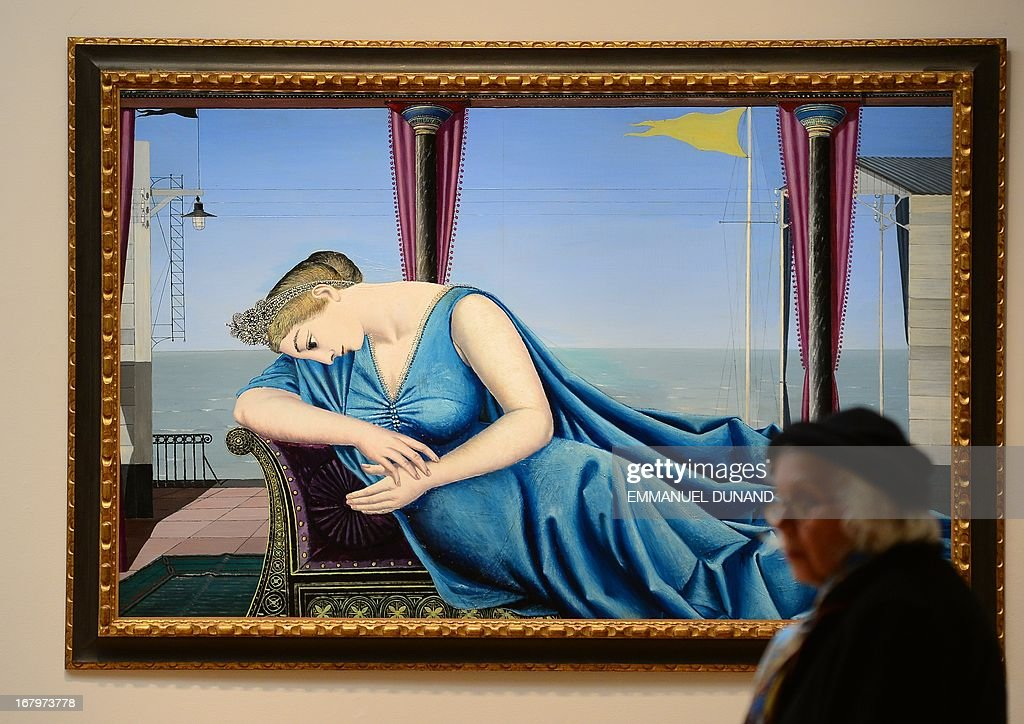 'Eloge de la melancolie' by Paul Delvaux is on display during a preview of Sotheby's Impressionist and Modern Art sales in New York, May 3, 2013. Sotheby's is scheduled to hold its Impressionist and Modern Art sales May 7, 2013. AFP PHOTO/Emmanuel Dunand ++RESTRICTED