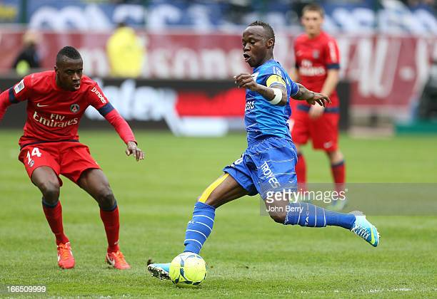 Eloge Enza Yamissi of Troyes in action during the Ligue 1 match between ES Troyes Aube Champagne ESTAC and Paris SaintGermain FC PSG at the Stade de...