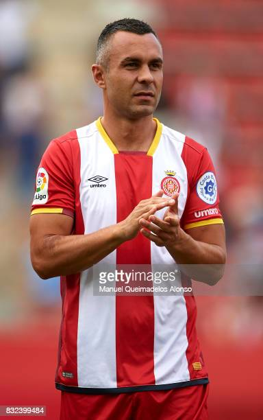 Eloi Amagat of Girona looks on prior to the preseason friendly match between Girona and Manchester City at Municipal de Montilivi Stadium on August...