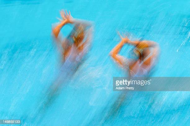Eloise Amberger and Sarah Bombell of Australia compete in the Women's Duets Synchronised Swimming Technical Routine on Day 9 of the London 2012...