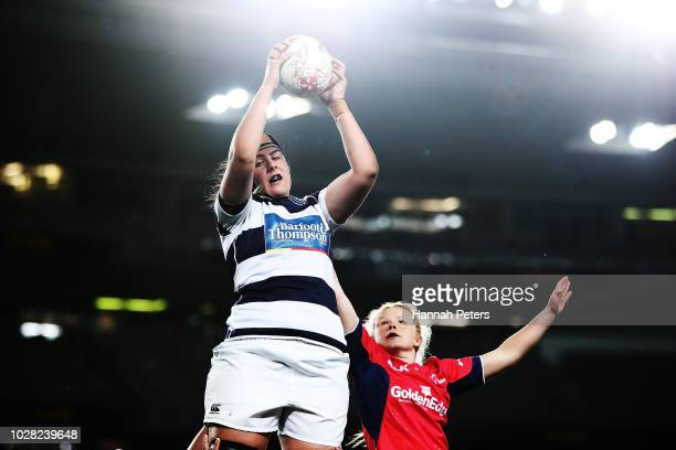 Eloise Blackwell of Auckland Storm wins lineout ball during the round two Farah Palmer Cup match between Auckland and Tasman at Eden Park on...