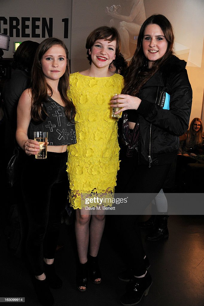 Eloise Laurence (C) and guests attend the UK premiere of 'Broken' at the Hackney Picturehouse on March 4, 2013 in London, England.