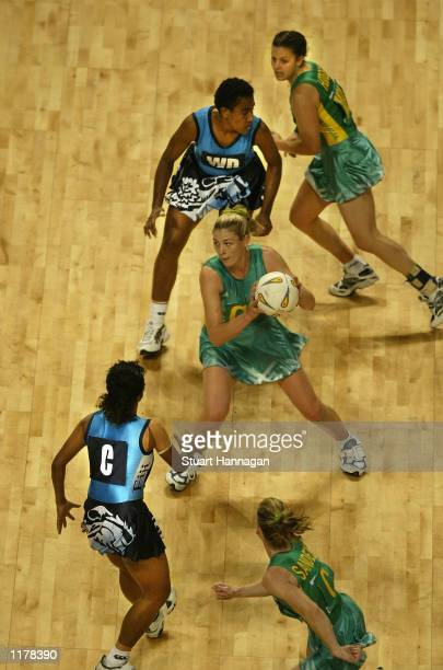 Eloise Southby of Australia action in the match between England and Wales at the Men Arena during the 2002 Commonwealth Games in Manchester England...