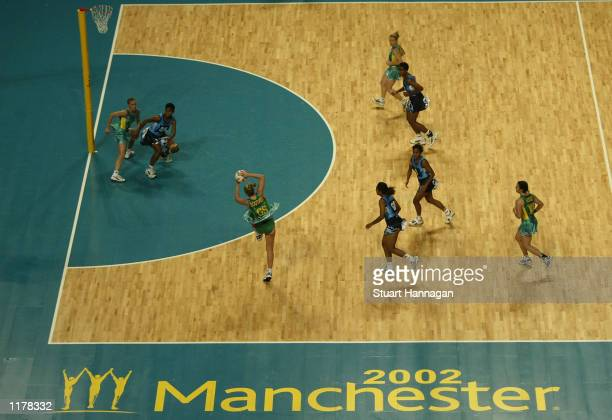 Eloise Southby of Australia catches the ball during the the Australia v Fiji game at the MEN Arena in Manchester during the 2002 Commonwealth Games...