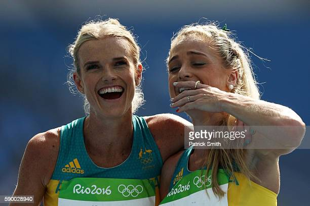 Eloise Wellings and Genevieve Lacaze of Australia react after the Women's 5000m Round 1 Heat 2 on Day 11 of the Rio 2016 Olympic Games at the Olympic...