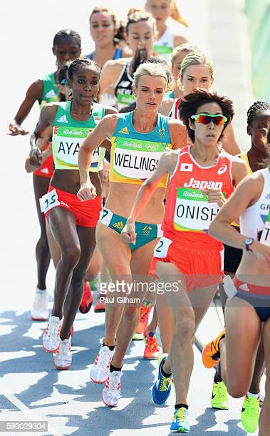 Eloise Wellings of Australia competes during the Women's 5000m Round 1 Heat 2 on Day 11 of the Rio 2016 Olympic Games at the Olympic Stadium on...