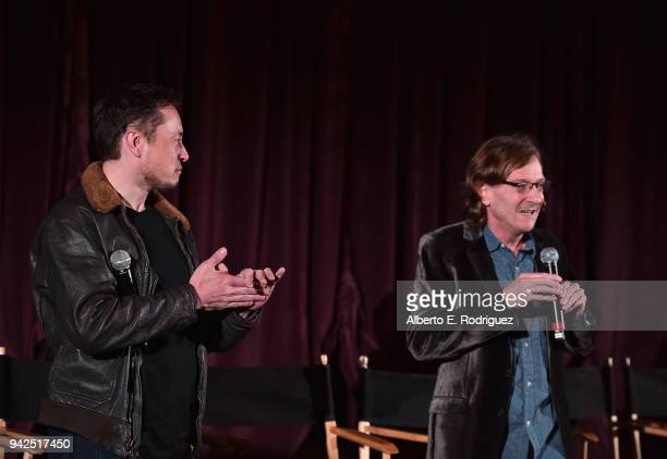 Elon Musk and Director Chris Paine attend the premiere and QA for 'Do You Trust This Computer' at The Regency Village Theatre on April 5 2018 in...