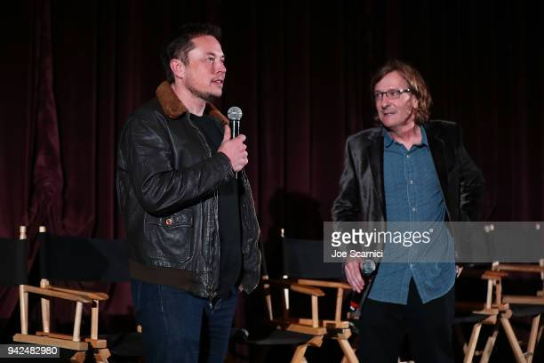 Elon Musk and Director Chris Paine introduce the 'Do You Trust This Computer' premiere at Regency Village Theatre on April 5 2018 in Westwood...