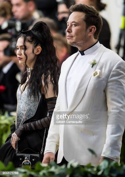 Elon Musk and Grimes are seen arriving to the Heavenly Bodies Fashion The Catholic Imagination Costume Institute Gala at The Metropolitan Museum on...