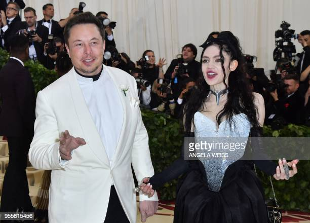 Elon Musk and Grimes arrive for the 2018 Met Gala on May 7 at the Metropolitan Museum of Art in New York The Gala raises money for the Metropolitan...