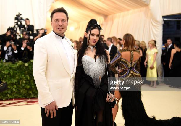 Elon Musk and Grimes attend the Heavenly Bodies Fashion The Catholic Imagination Costume Institute Gala at The Metropolitan Museum of Art on May 7...