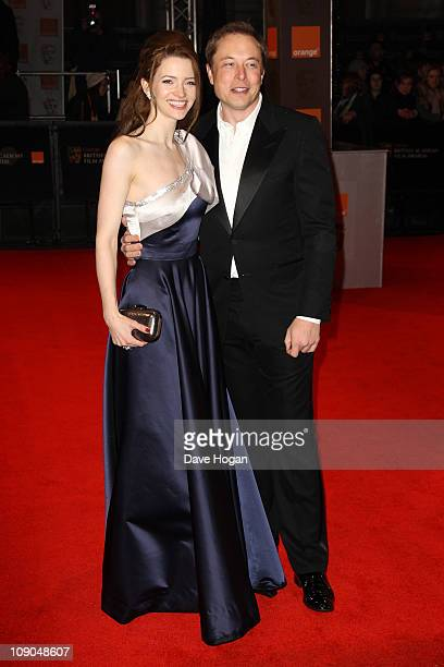 Elon Musk and Talulah Riley arrive at the Orange British Academy Film Awards 2011 held at The Royal Opera House on February 13 2011 in London England
