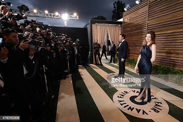 Elon Musk and Talulah Riley attends the 2014 Vanity Fair Oscar Party Hosted By Graydon Carter on March 2, 2014 in West Hollywood, California.