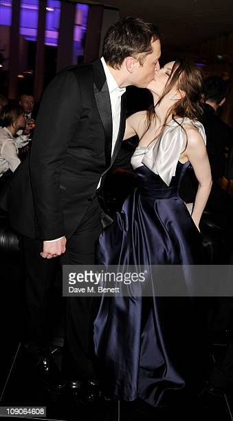 Elon Musk and Talulah Riley celebrate at The Weinstein Company and Momentum Pictures' post-BAFTA party held at W London-Leicester Square on February...