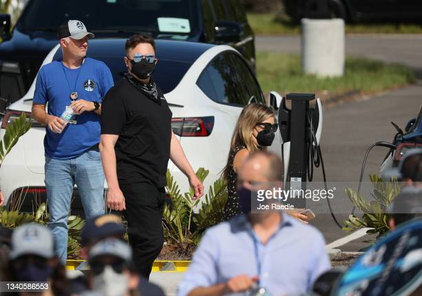 Elon Musk arrives to watch as Inspiration4 crew members Jared Isaacman, Chris Sembroski, Hayley Arceneaux, and Sian Proctor prepare to leave for...
