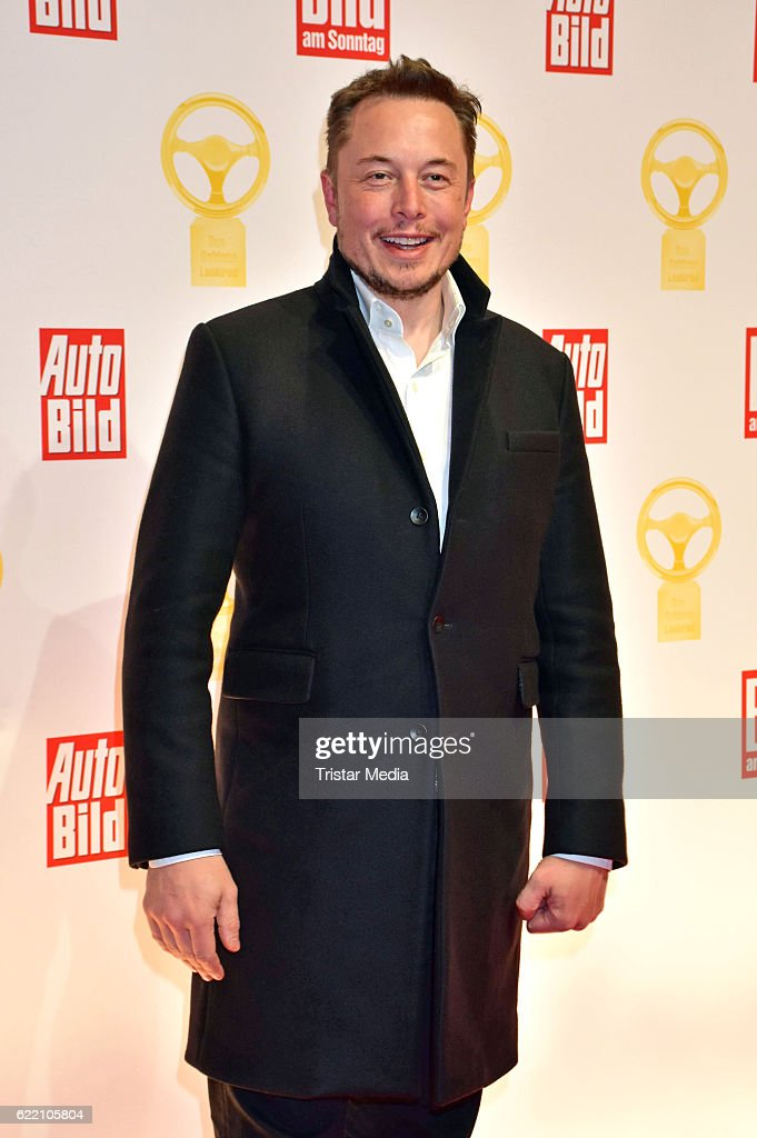 Elon Musk attends the 'Goldenes Lenkrad' Award at Axel Springer Haus on November 8, 2016 in Berlin, Germany.
