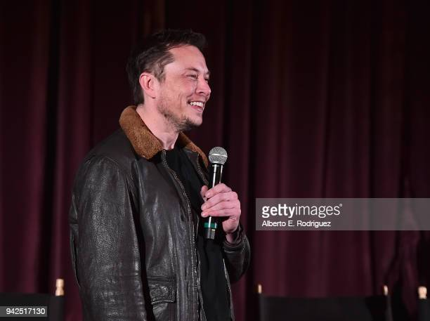 Elon Musk attends the premiere and QA for 'Do You Trust This Computer' at The Regency Village Theatre on April 5 2018 in Westwood California