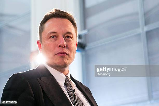 Elon Musk billionaire and chief executive officer of Tesla Motors Inc arrives for a news conference in Berlin Germany on Thursday Sept 24 2015 Tesla...
