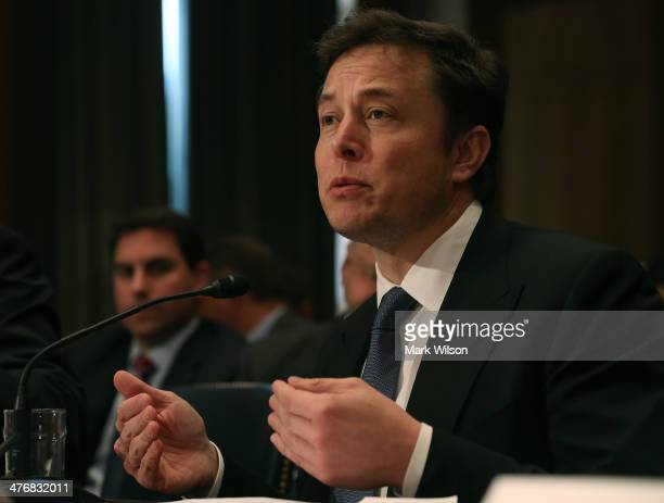 Elon Musk CEO and chief designer of Space Exploration Technologies testifies during Senate Appropriations Defense Subcommittee hearing on Capitol...