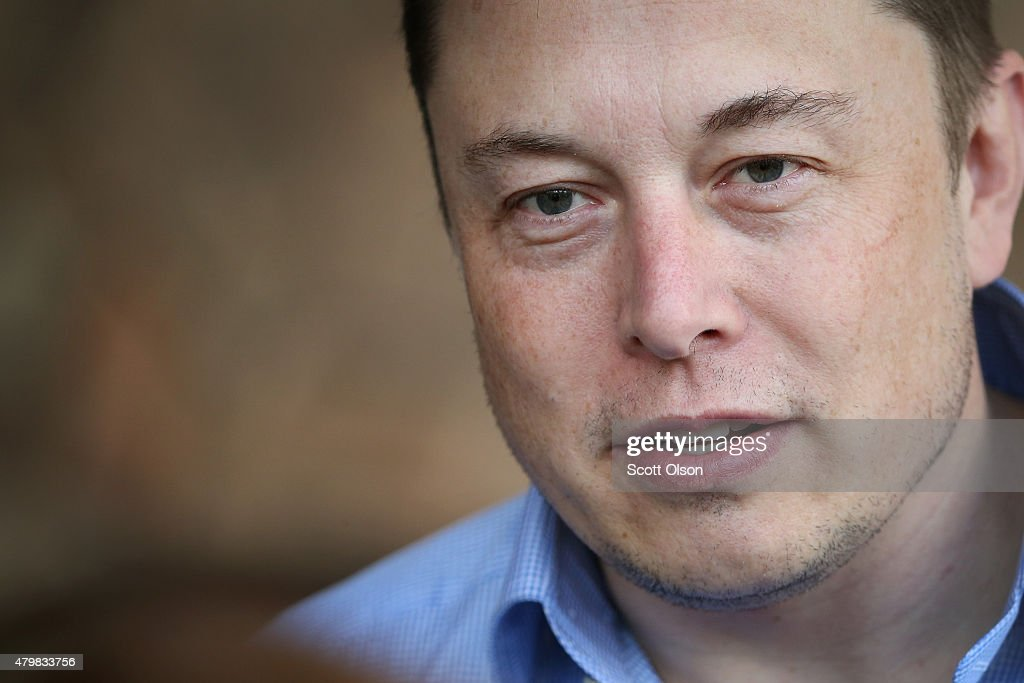 Elon Musk, CEO and CTO of SpaceX, CEO and product architect of Tesla Motors, and chairman of SolarCity, attends the Allen & Company Sun Valley Conference on July 7, 2015 in Sun Valley, Idaho. Many of the worlds wealthiest and most powerful business people from media, finance, and technology attend the annual week-long conference which is in its 33nd year.