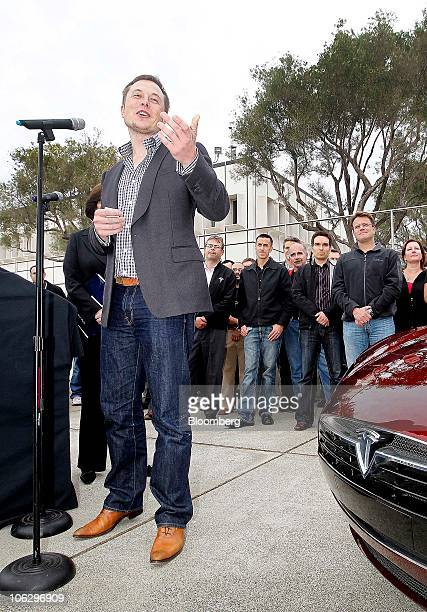 Elon Musk chairman and chief executive officer of Tesla Motors Inc speaks during the official opening ceremony of the new Tesla Motors auto plant...