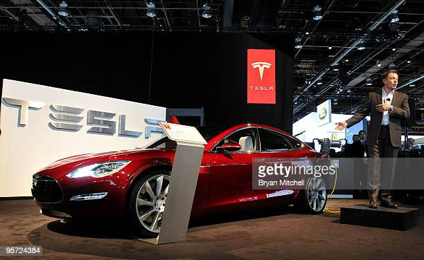 Elon Musk Chairman Product Architect and CEO Tesla Motors talks about the Model S electric vehicle during the press preview for the world automotive...