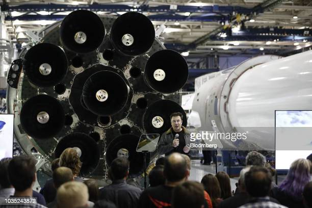 Elon Musk chief executive officer for Space Exploration Technologies Corp speaks during an event at the SpaceX headquarters in Hawthorne California...