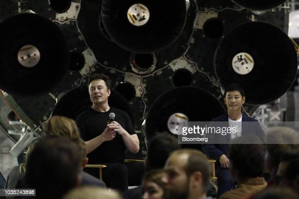 Elon Musk chief executive officer for Space Exploration Technologies Corp left responds to a question as Yusaku Maezawa founder and president of...