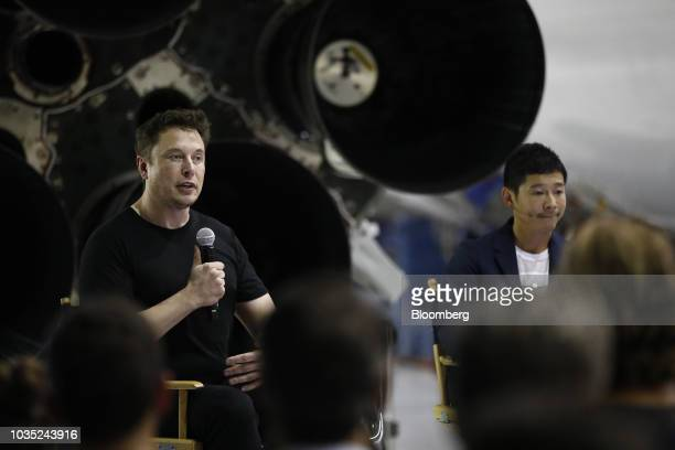 Elon Musk chief executive officer for Space Exploration Technologies Corp left speaks as Yusaku Maezawa founder and president of Start Today Co...