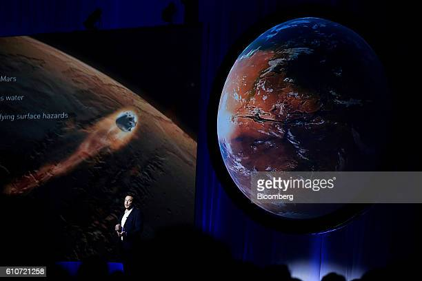 Elon Musk chief executive officer for Space Exploration Technologies Corp speaks during the 67th International Astronautical Congress in Guadalajara...