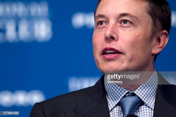 Elon Musk chief executive officer of Space Exploration Technologies Corp and Tesla Motors Inc speaks at the National Press Club in Washington DC US...