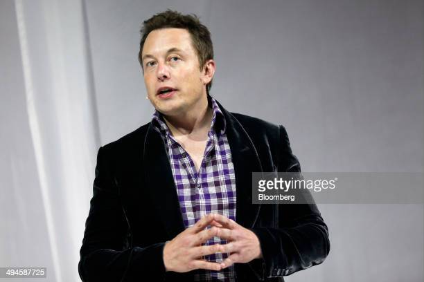 Elon Musk chief executive officer of Space Exploration Technologies Corp speaks before the unveiling of the Manned Dragon V2 Space Taxi in Hawthorne...
