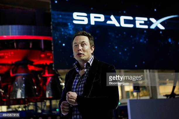 Elon Musk chief executive officer of Space Exploration Technologies Corp speaks at the unveiling of the Manned Dragon V2 Space Taxi in Hawthorne...
