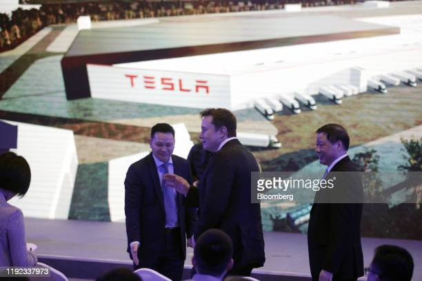 Elon Musk chief executive officer of Tesla Inc arrives at the company's Gigafactory in Shanghai China on Tuesday Jan 7 2020 Teslakicked off...
