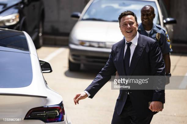 Elon Musk, chief executive officer of Tesla Inc., departs court during the SolarCity trial in Wilmington, Delaware, U.S., on Tuesday, July 13, 2021....
