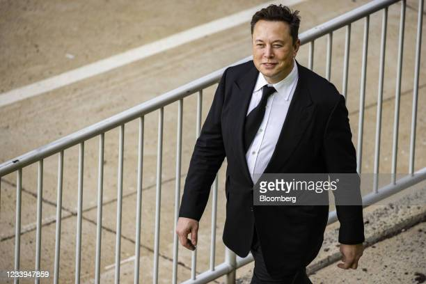 Elon Musk, chief executive officer of Tesla Inc., departs from court for the SolarCity trial in Wilmington, Delaware, U.S., on Monday, July 12, 2021....