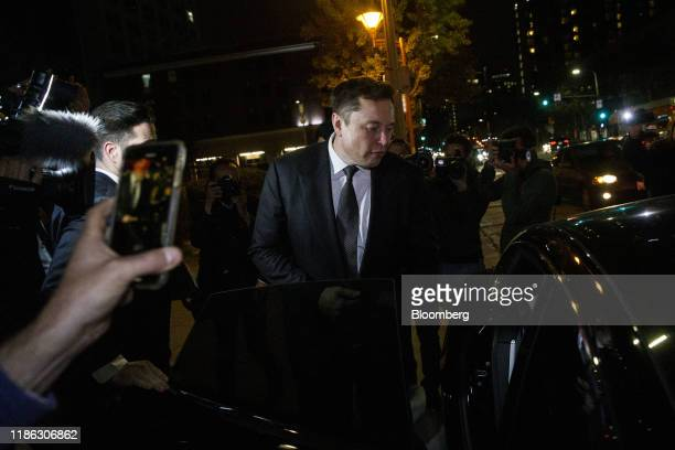 Elon Musk chief executive officer of Tesla Inc departs from federal court in Los Angeles California US on Tuesday Dec 3 2019 Musk will have to go...