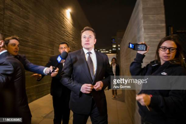 Elon Musk, chief executive officer of Tesla Inc. Leaves the US District Court, Central District of California through a back door in Los Angeles,...