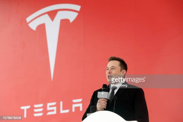 Elon Musk chief executive officer of Tesla Inc speaks during an event at the site of the company's manufacturing facility in Shanghai China on Monday...