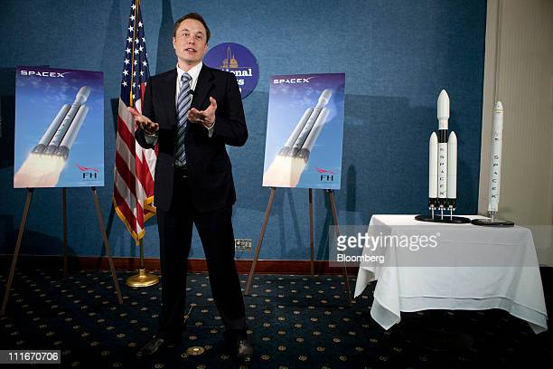 Elon Musk chief executive officer of Tesla Motors Inc and Space Exploration Technologies Inc known as Spacex speaks at a news conference at the...