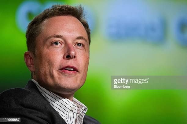 Elon Musk chief executive officer of Tesla Motors Inc and Space Exploration Technologies Inc speaks at the TechCrunch Disrupt 2011 conference in San...