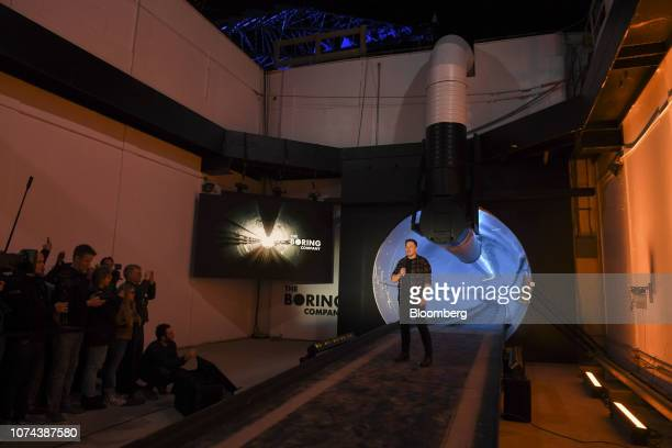 Elon Musk, co-founder and chief executive officer of Tesla Inc., speaks during an unveiling event for the Boring Co. Hawthorne test tunnel in...