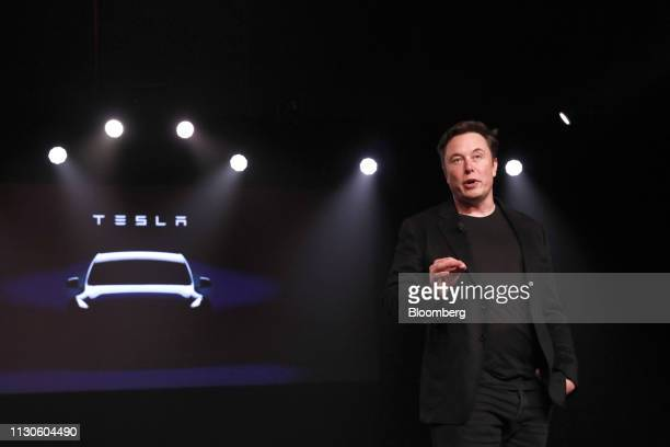 Elon Musk cofounder and chief executive officer of Tesla Inc speaks during an unveiling event for the Tesla Model Y crossover electric vehicle in...